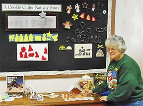 Jan Johnson with her Nativity cutters